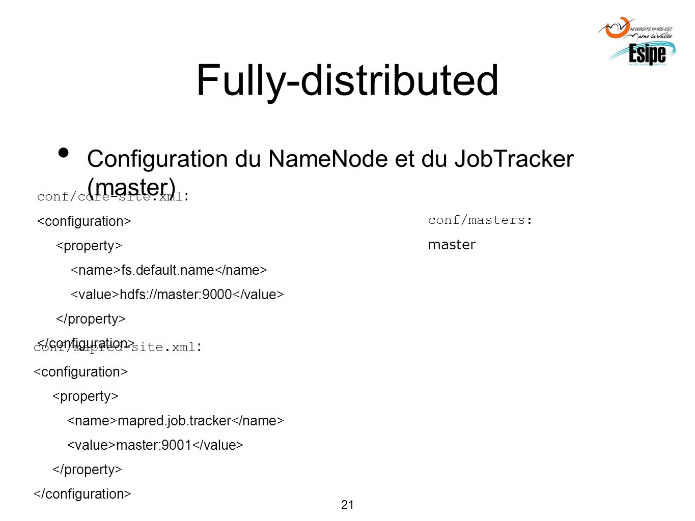 Fully-distributed Configuration du NameNode et du JobTracker (master)