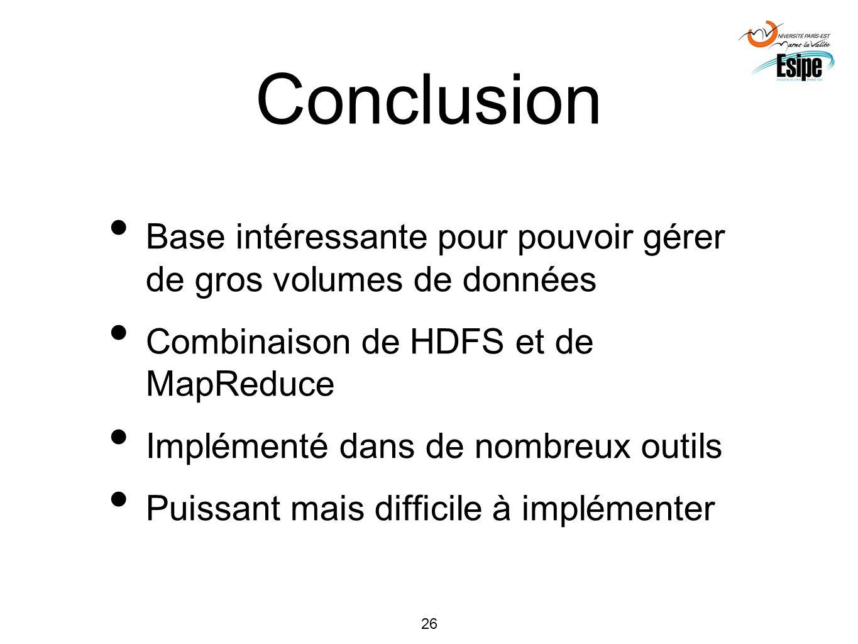 Conclusion Base intéressante pour pouvoir gérer de gros volumes de données. Combinaison de HDFS et de MapReduce.