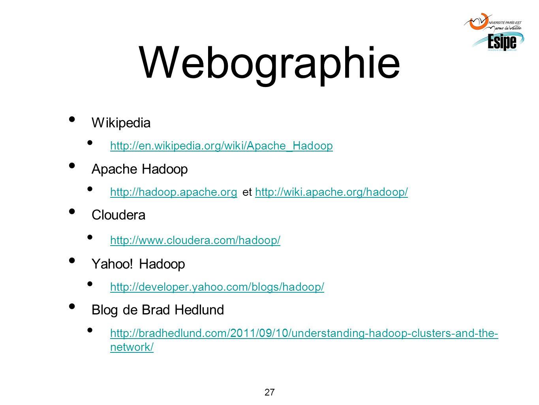 Webographie Wikipedia Apache Hadoop Cloudera Yahoo! Hadoop