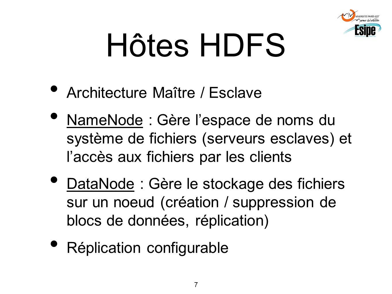 Hôtes HDFS Architecture Maître / Esclave