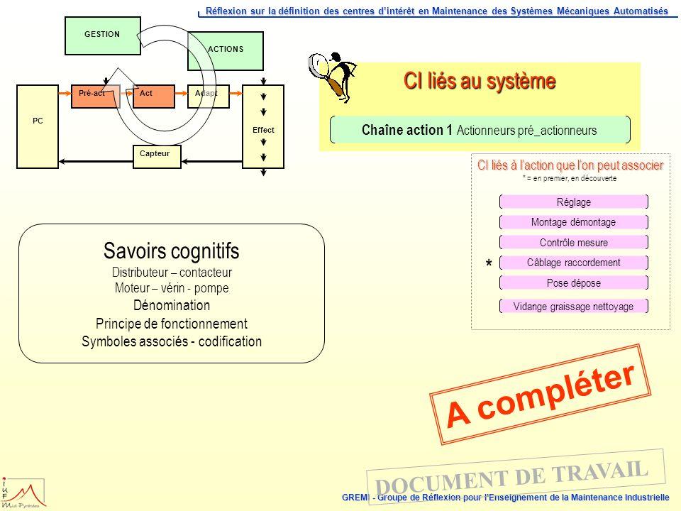 A compléter CI liés au système Savoirs cognitifs *