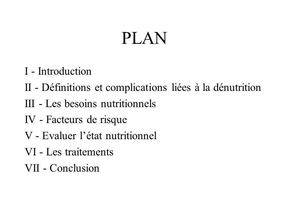 PLAN I - Introduction. II - Définitions et complications liées à la dénutrition. III - Les besoins nutritionnels.