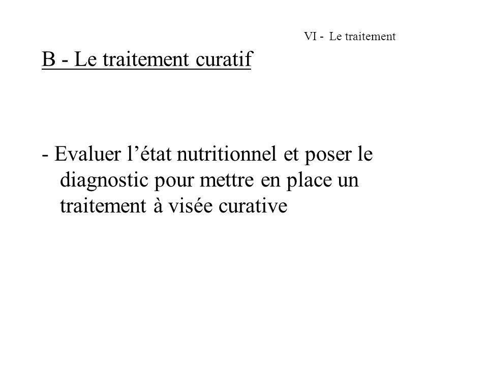 VI - Le traitement B - Le traitement curatif
