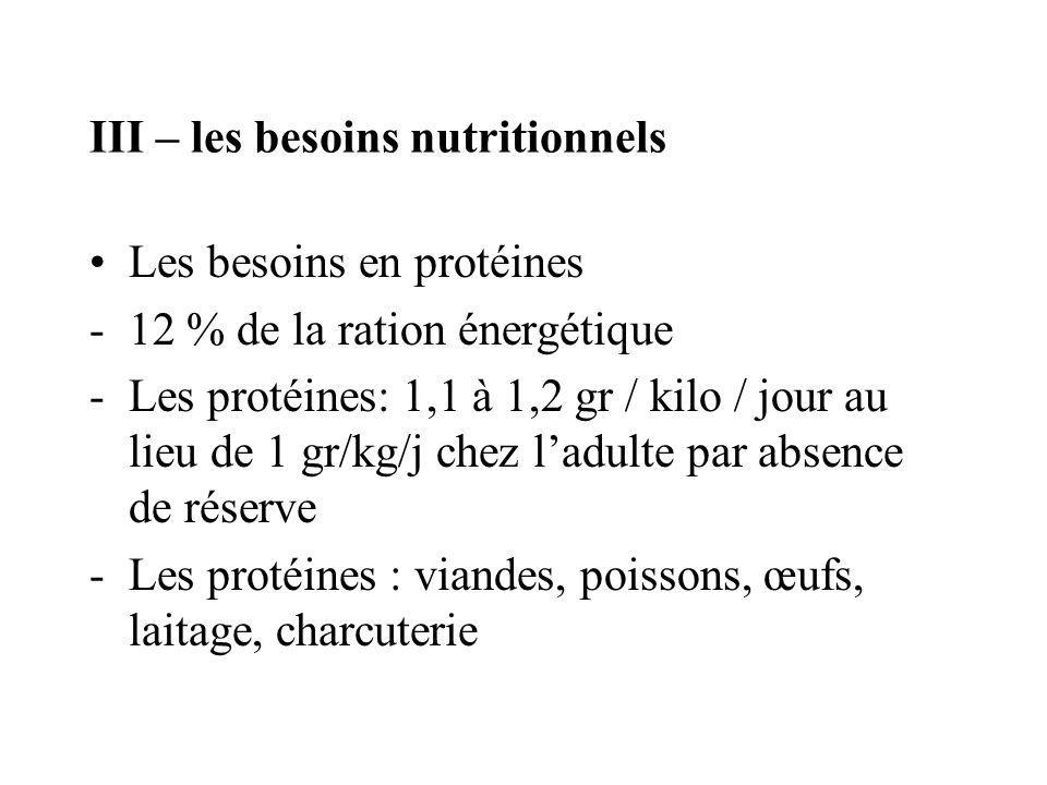 III – les besoins nutritionnels