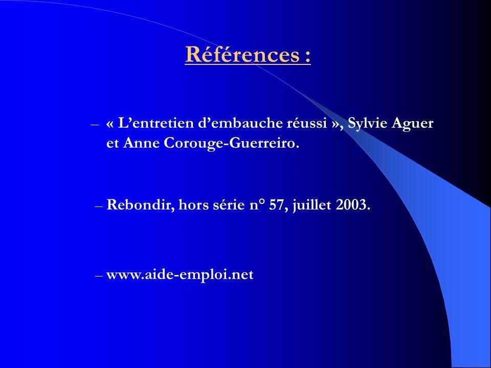 Références : « L'entretien d'embauche réussi », Sylvie Aguer et Anne Corouge-Guerreiro. Rebondir, hors série n° 57, juillet 2003.
