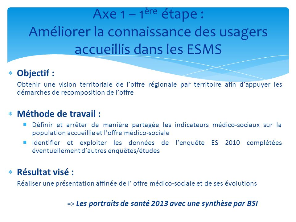 Axe 1 – 1ère étape : Améliorer la connaissance des usagers accueillis dans les ESMS