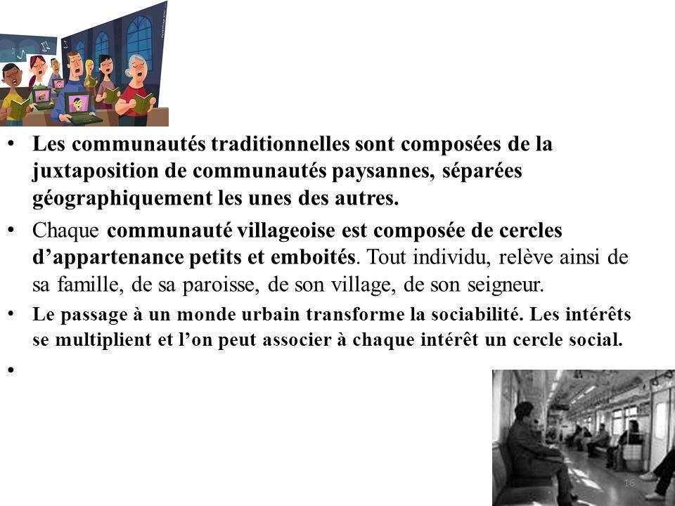 Les communautés traditionnelles sont composées de la juxtaposition de communautés paysannes, séparées géographiquement les unes des autres.