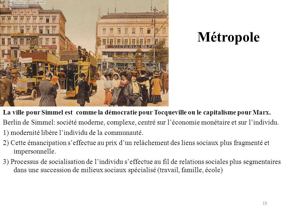 Métropole La ville pour Simmel est comme la démocratie pour Tocqueville ou le capitalisme pour Marx.