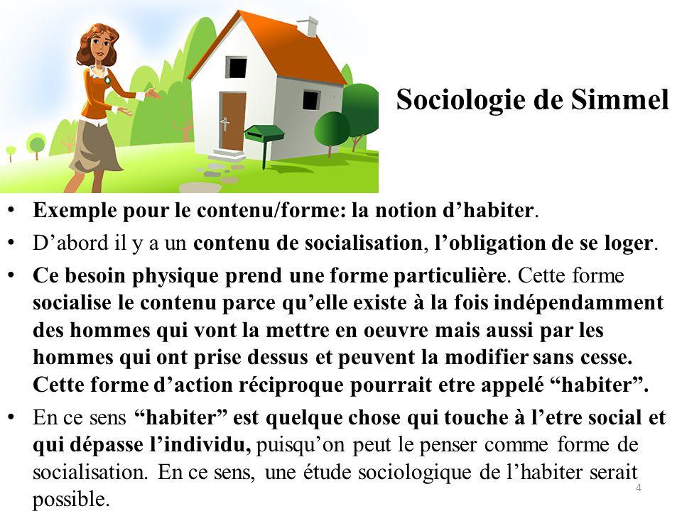 Sociologie de Simmel Exemple pour le contenu/forme: la notion d'habiter. D'abord il y a un contenu de socialisation, l'obligation de se loger.