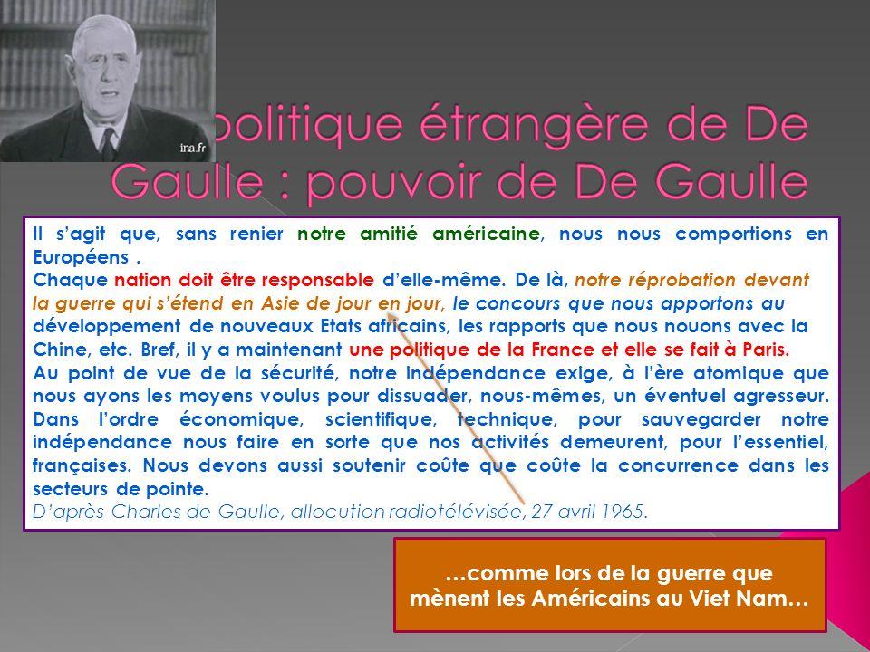 La politique étrangère de De Gaulle : pouvoir de De Gaulle