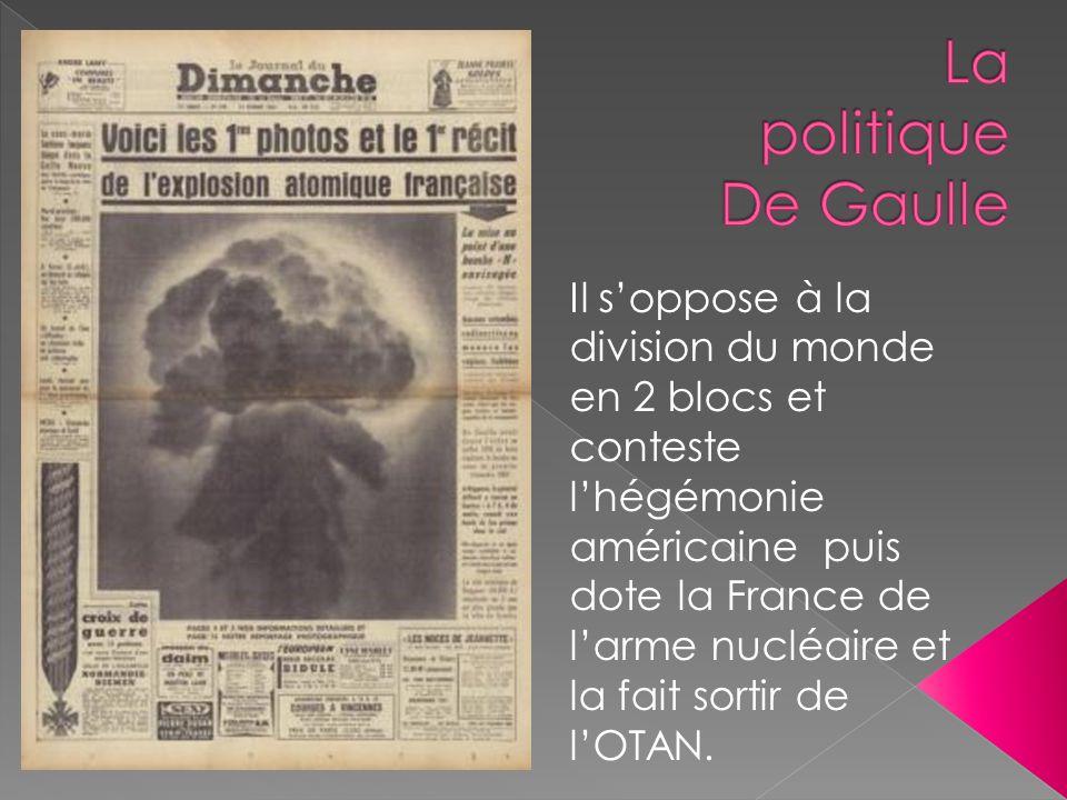 La politique De Gaulle Il s'oppose à la division du monde en 2 blocs et conteste.