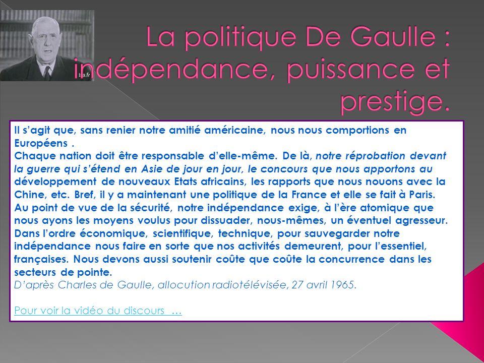 La politique De Gaulle : indépendance, puissance et prestige.