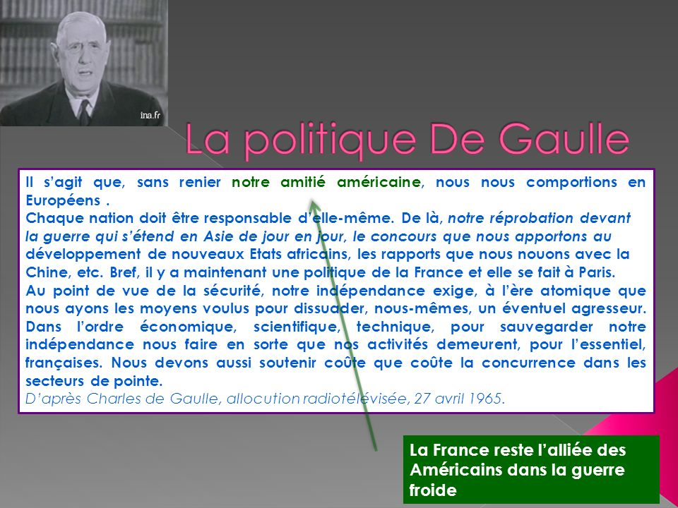La politique De Gaulle 1958 -1968