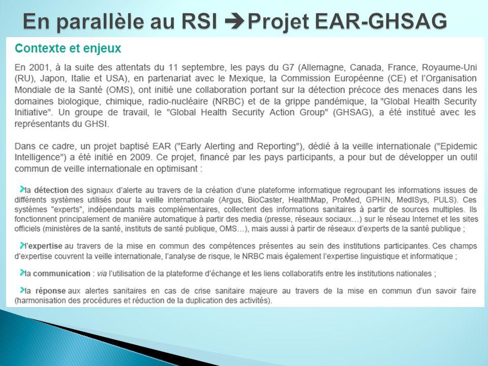 En parallèle au RSI Projet EAR-GHSAG