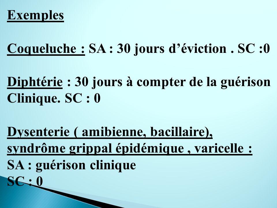 Exemples Coqueluche : SA : 30 jours d'éviction . SC :0. Diphtérie : 30 jours à compter de la guérison.