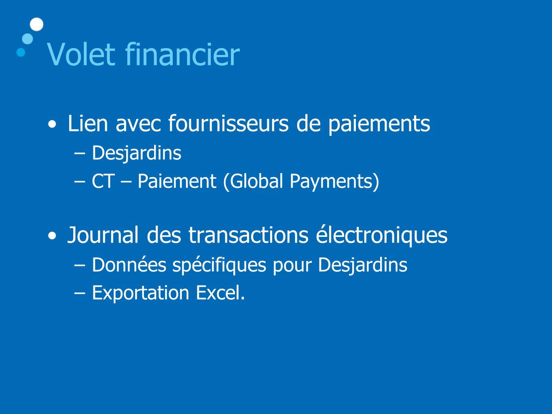 Volet financier Lien avec fournisseurs de paiements