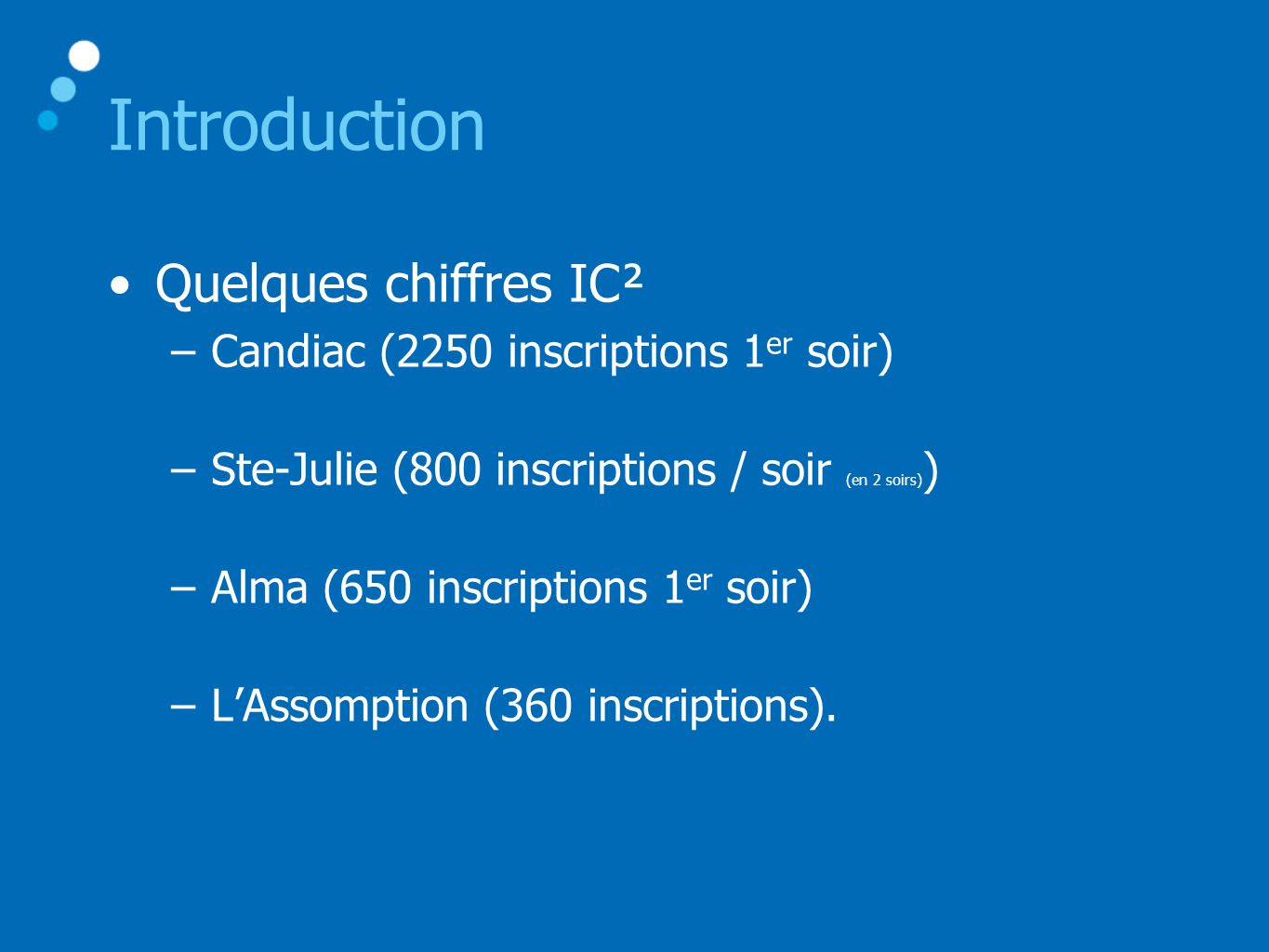 Introduction Quelques chiffres IC²