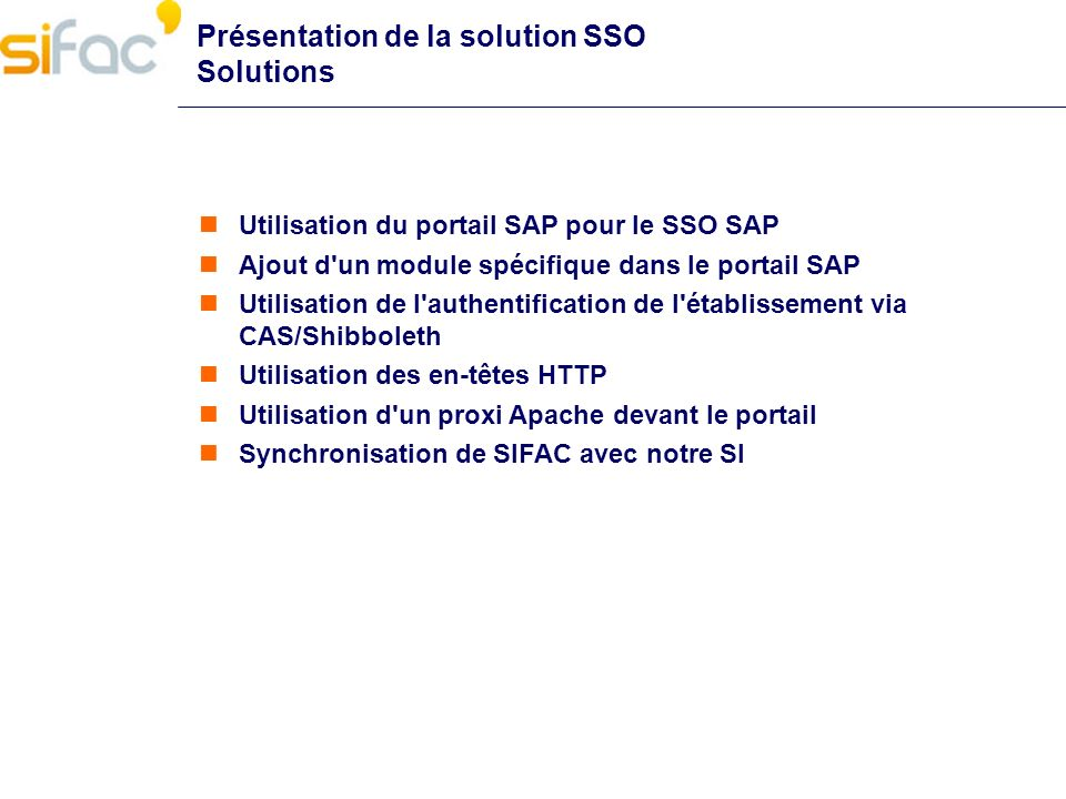 Présentation de la solution SSO Solutions