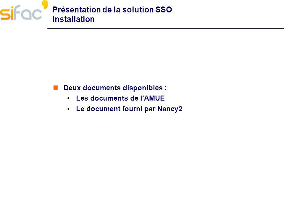 Présentation de la solution SSO Installation