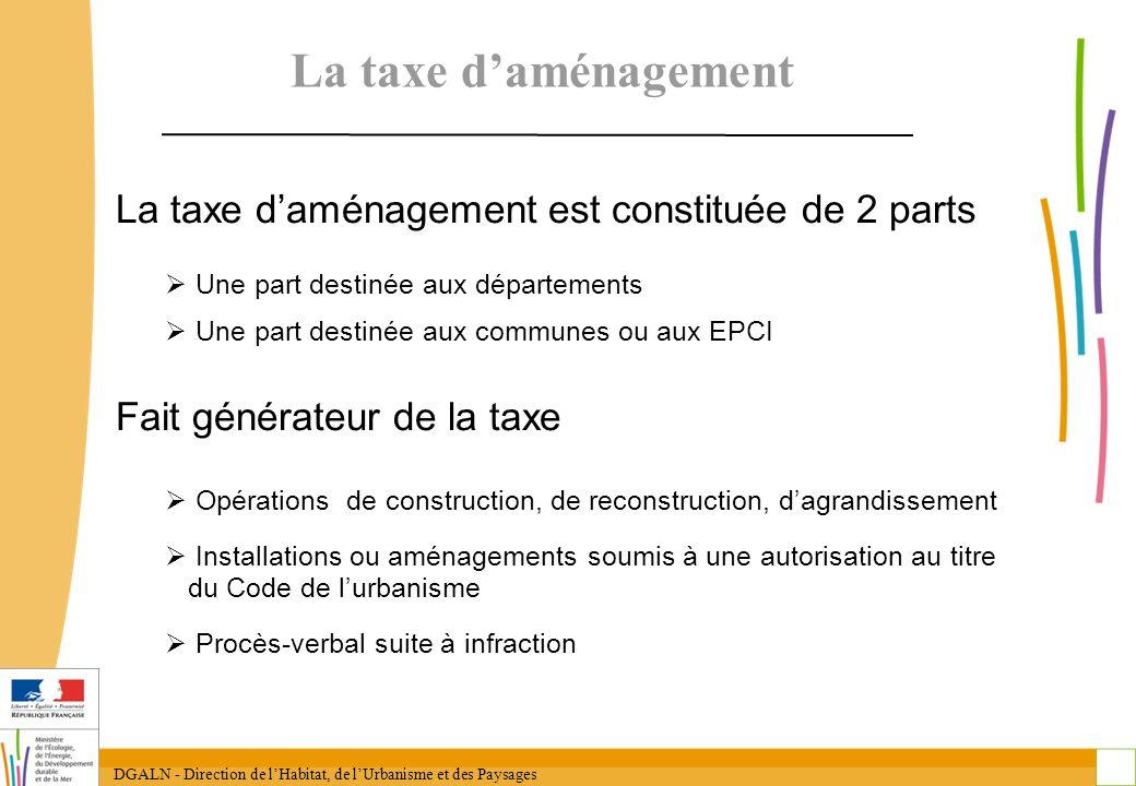 La taxe d'aménagement La taxe d'aménagement est constituée de 2 parts
