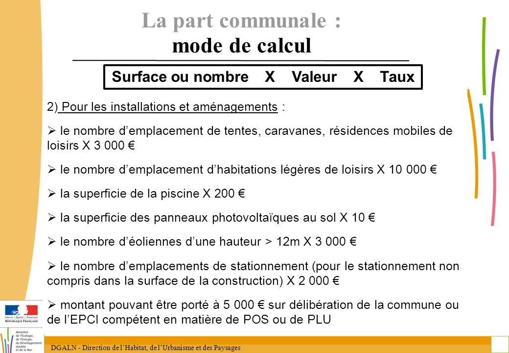 La part communale : mode de calcul Surface ou nombre X Valeur X Taux