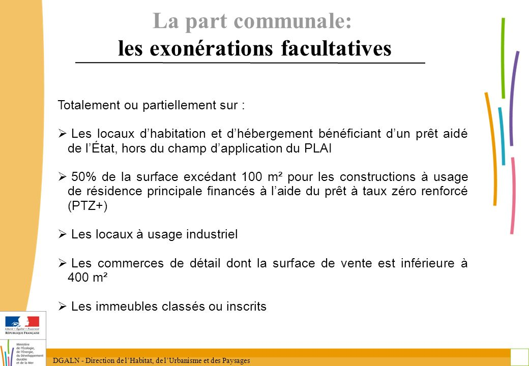 La part communale: les exonérations facultatives