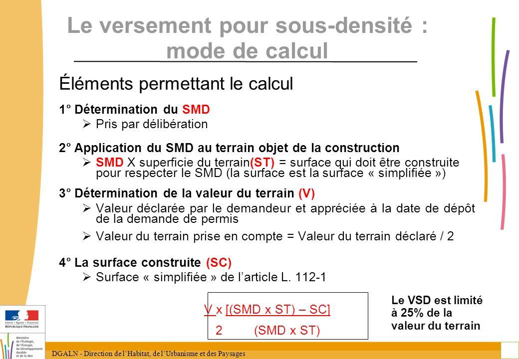 Le versement pour sous-densité : mode de calcul