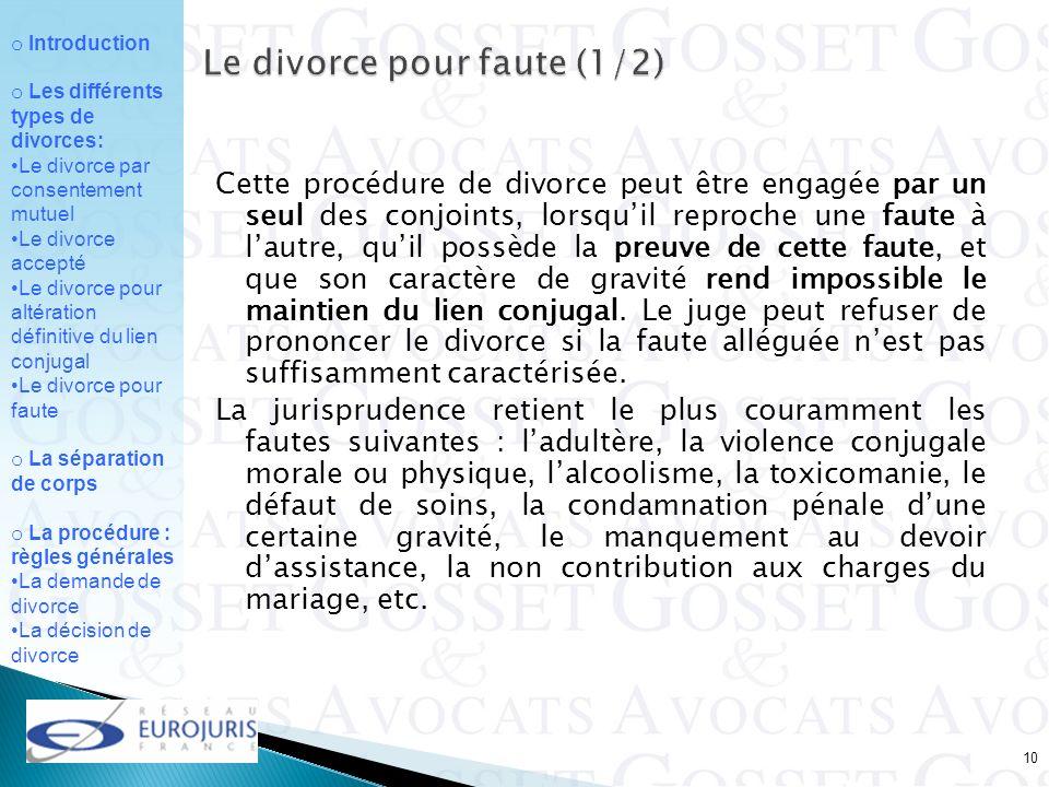 Le divorce pour faute (1/2)