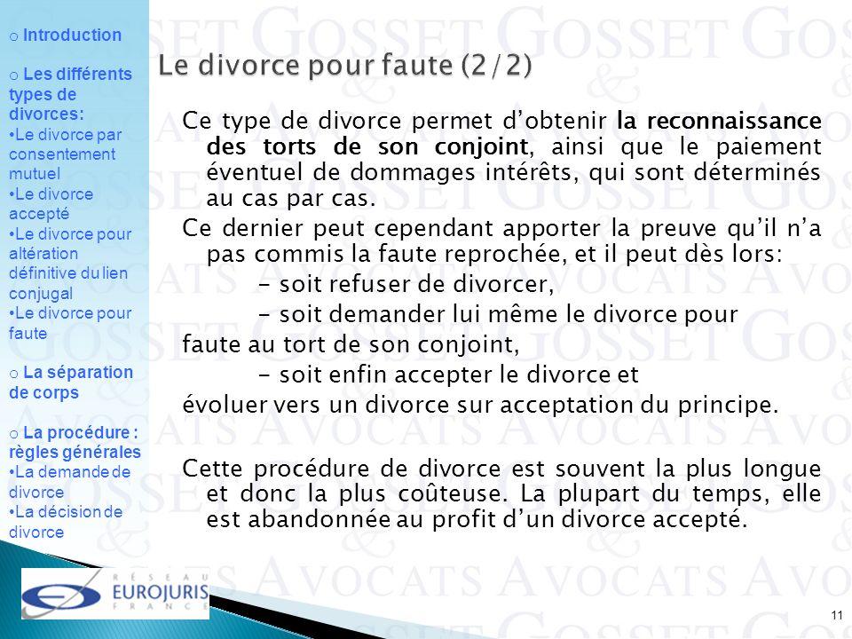 Le divorce pour faute (2/2)