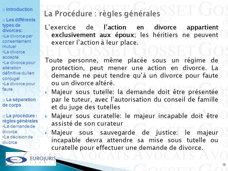 La Procédure : règles générales