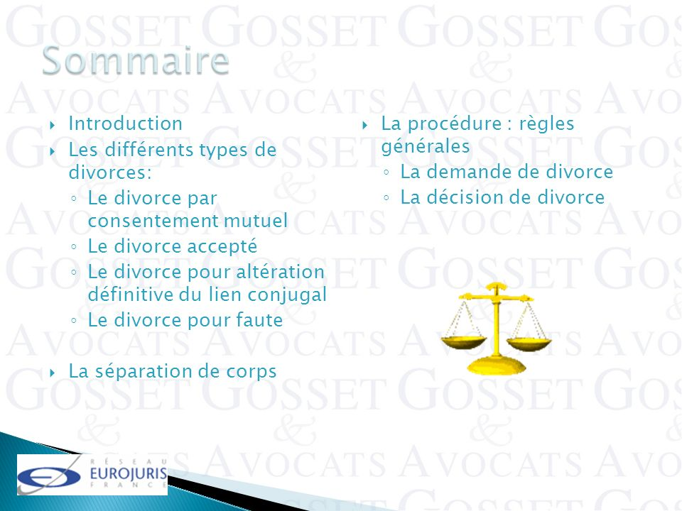 Sommaire Introduction Les différents types de divorces: