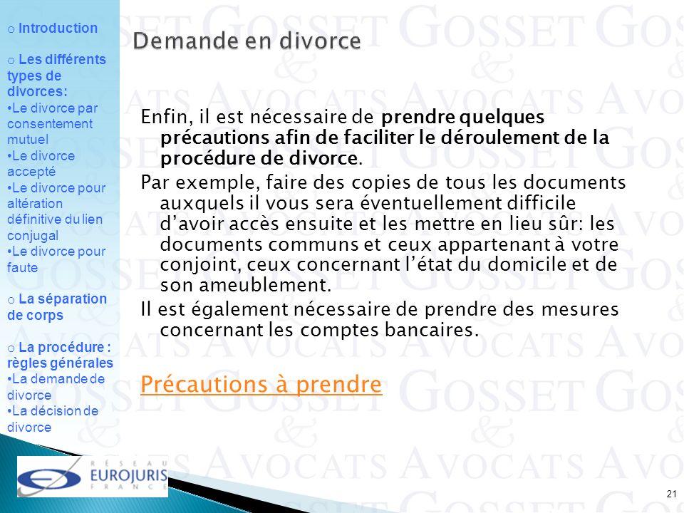 Demande en divorce Précautions à prendre