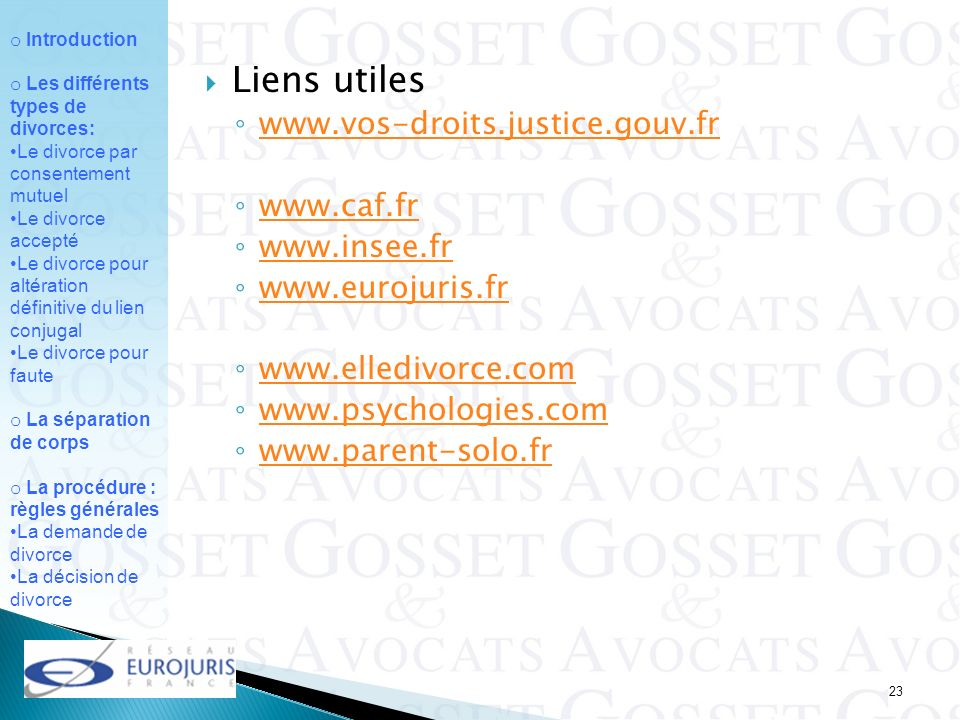 Liens utiles www.vos-droits.justice.gouv.fr www.caf.fr www.insee.fr