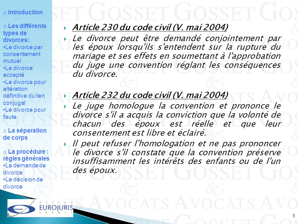 Article 230 du code civil (V. mai 2004)