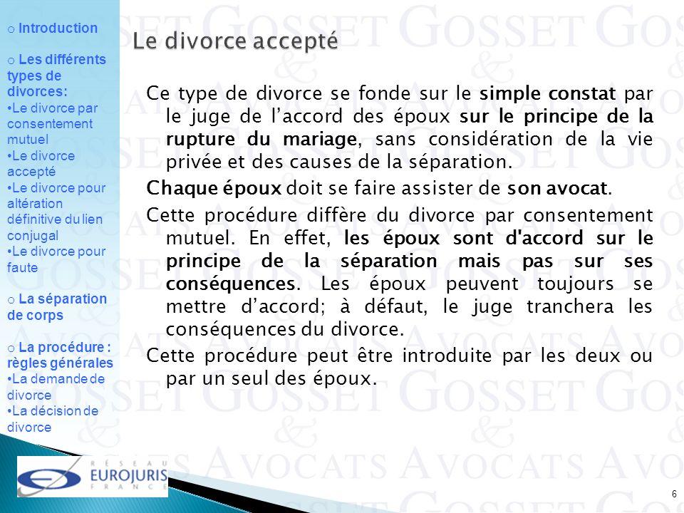 Le divorce accepté