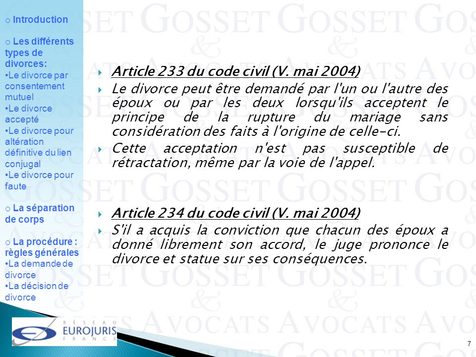 Article 233 du code civil (V. mai 2004)