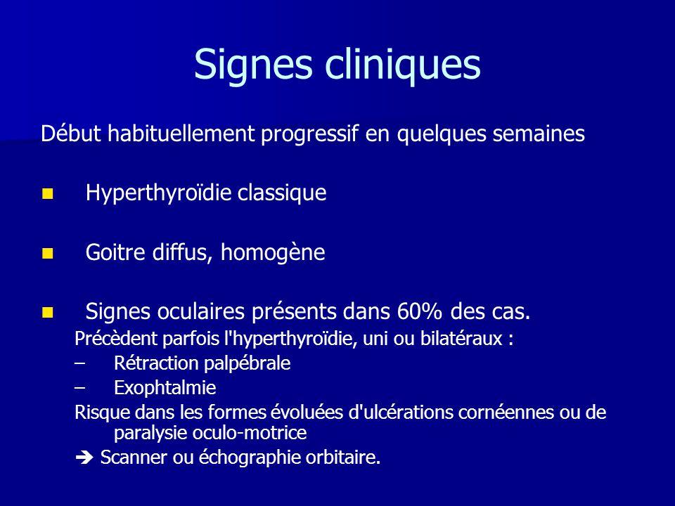 Signes cliniques Début habituellement progressif en quelques semaines