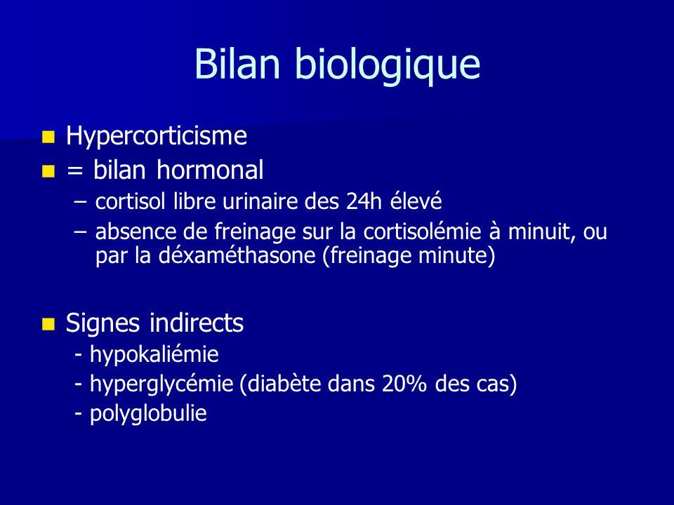 Bilan biologique Hypercorticisme = bilan hormonal Signes indirects