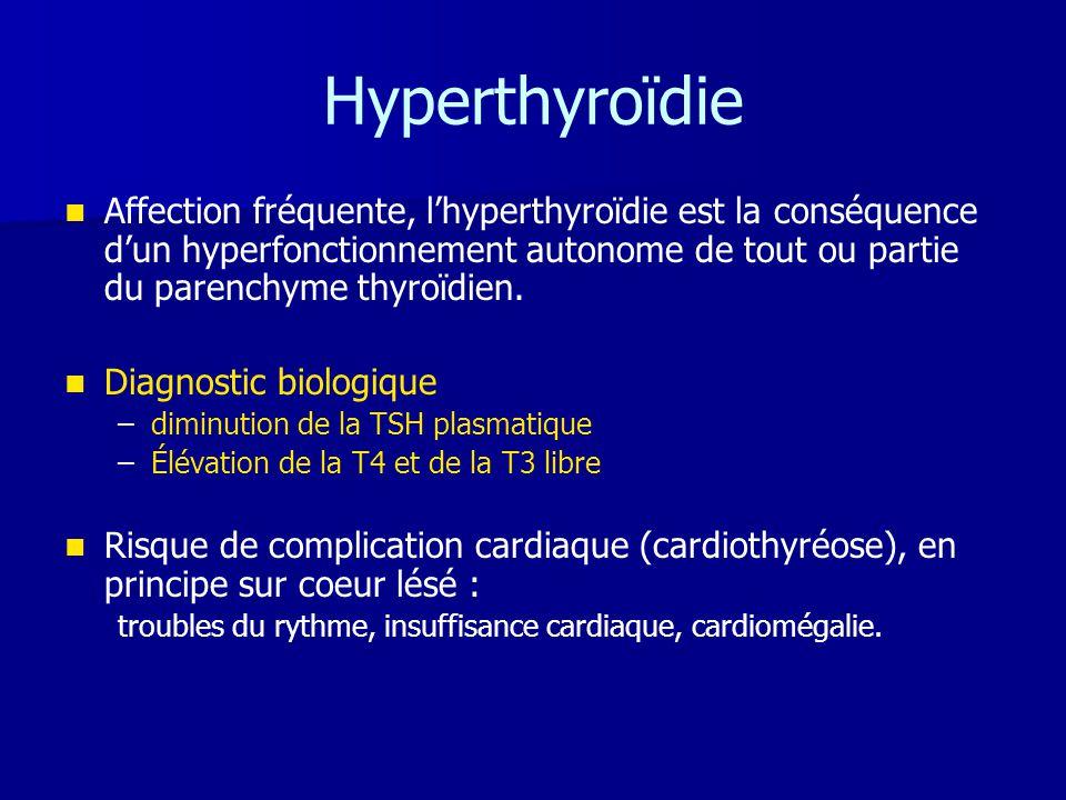 Hyperthyroïdie Affection fréquente, l'hyperthyroïdie est la conséquence d'un hyperfonctionnement autonome de tout ou partie du parenchyme thyroïdien.