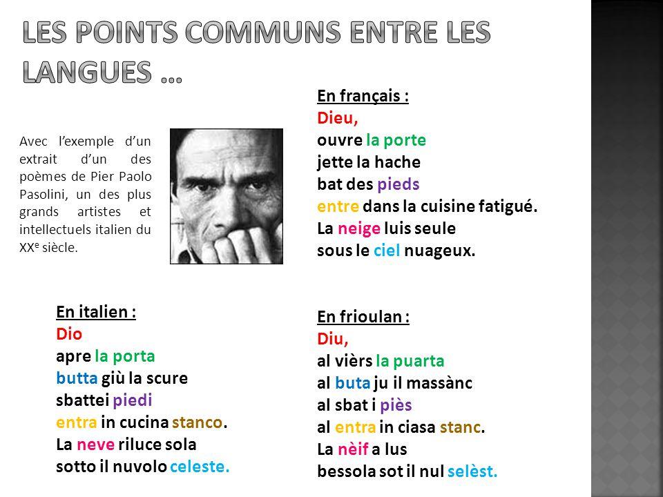 Les points communs entre les langues …
