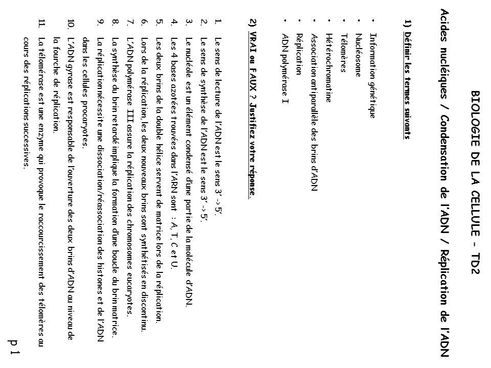 p 1 Acides nucléiques / Condensation de l'ADN / Réplication de l'ADN