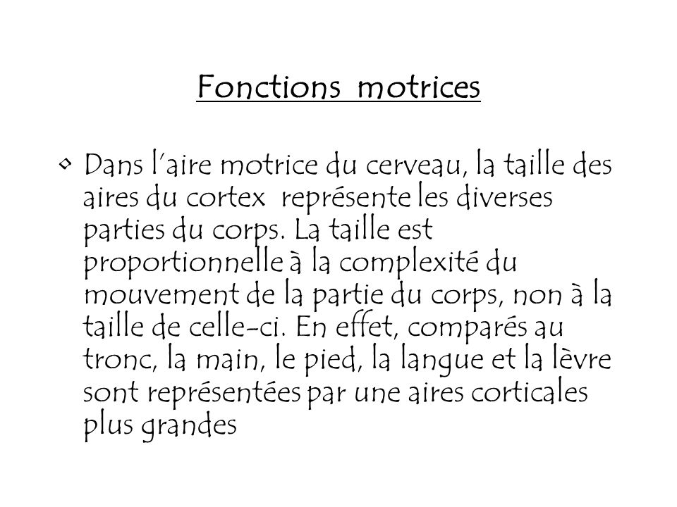 Fonctions motrices