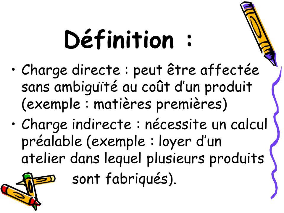 Définition : Charge directe : peut être affectée sans ambiguïté au coût d'un produit (exemple : matières premières)