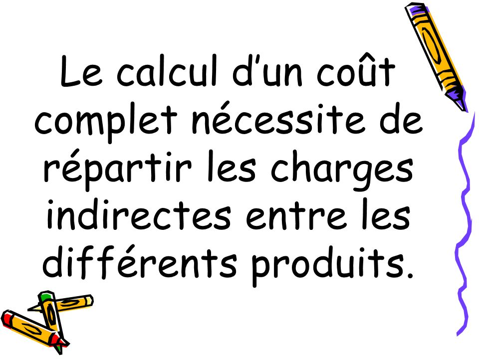 Le calcul d'un coût complet nécessite de répartir les charges indirectes entre les différents produits.