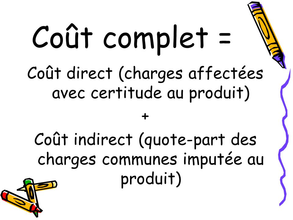 Coût complet = Coût direct (charges affectées avec certitude au produit) + Coût indirect (quote-part des charges communes imputée au produit)