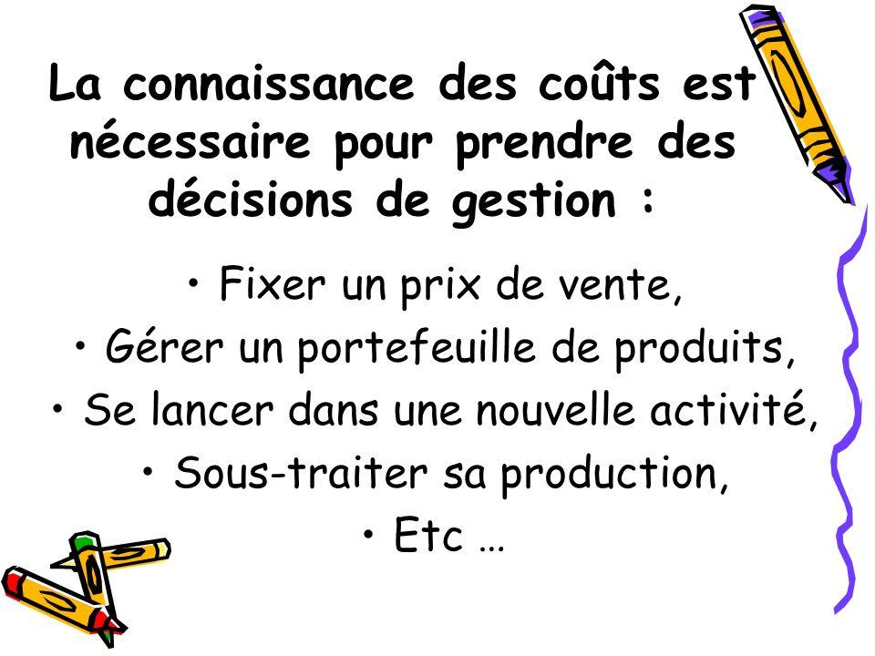La connaissance des coûts est nécessaire pour prendre des décisions de gestion :