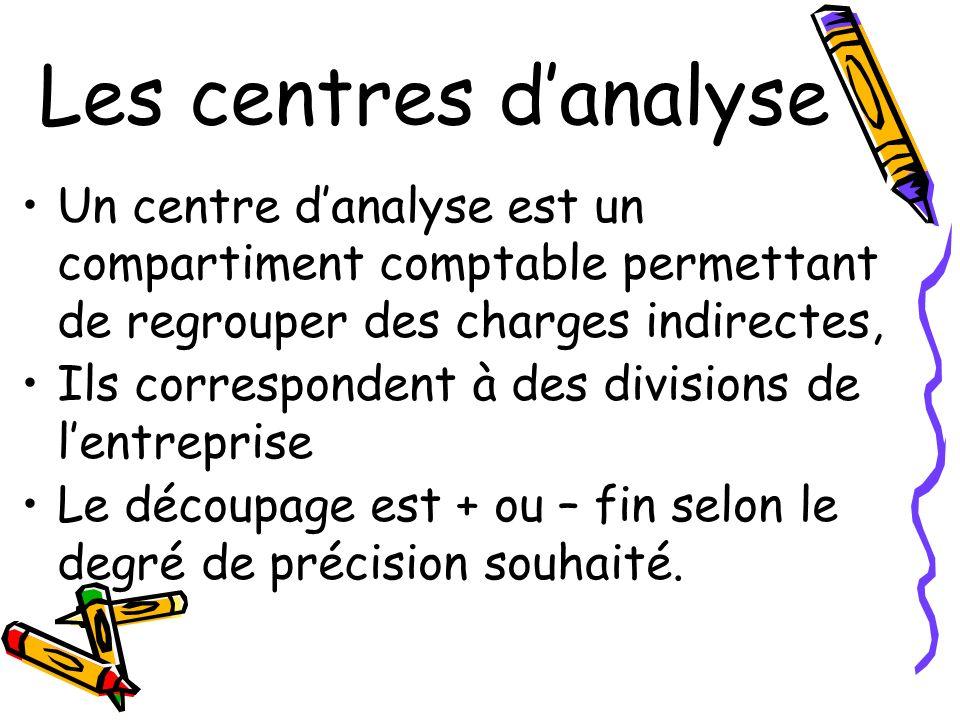 Les centres d'analyse Un centre d'analyse est un compartiment comptable permettant de regrouper des charges indirectes,