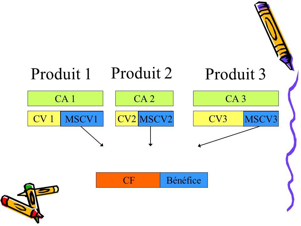 Produit 1 Produit 2 Produit 3 CA 1 CA 2 CA 3 CV 1 MSCV1 M/CV1 CV2
