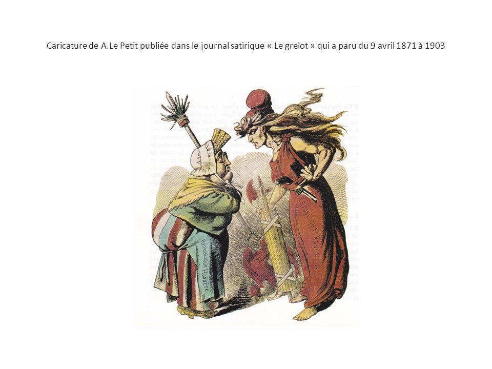 Caricature de A.Le Petit publiée dans le journal satirique « Le grelot » qui a paru du 9 avril 1871 à 1903