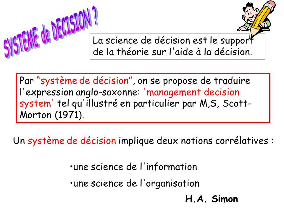 SYSTEME de DECISION La science de décision est le support de la théorie sur l aide à la décision.